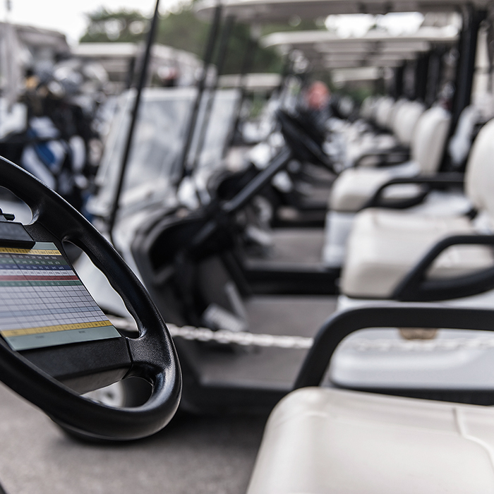 Photo of a row of gold buggies - golf buggy insurance