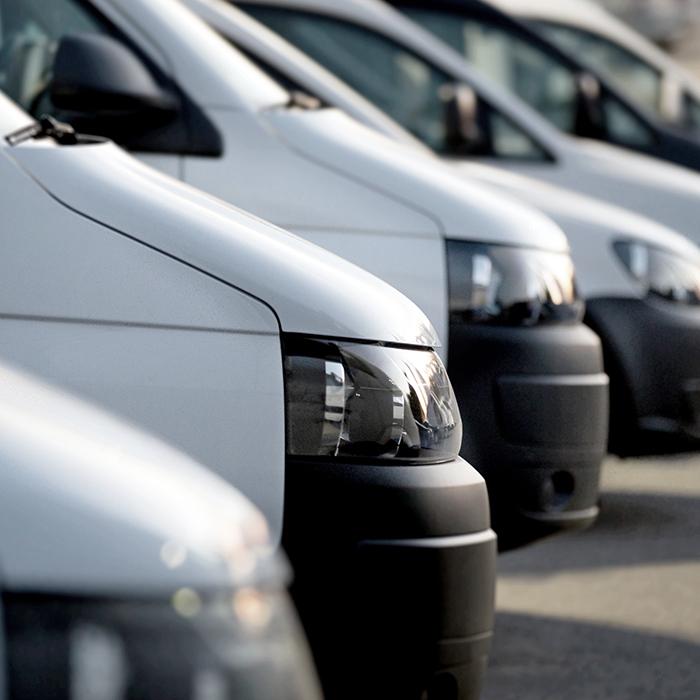 Photo of a fleet of vans - Motor fleet insurance